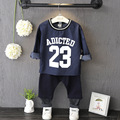 2016 Baby Boys Clothing Set Long Sleeve Cotton Letter Jean Top Harlan Pant 2pcs Boy Clothes Kids Tracksuit Baby Sport Suit 2-7Y