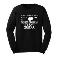 Mens Many Grandpas Watch TV Best Grandpas Play Guitar Casual Long Sleeve T Shirts Men Tee