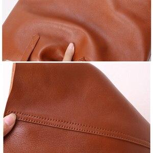 Image 4 - Bolsa de ombro feminina bolsa de couro genuíno senhora bolsa de compras do sexo feminino estudante clássico simples moda shopper casual totes