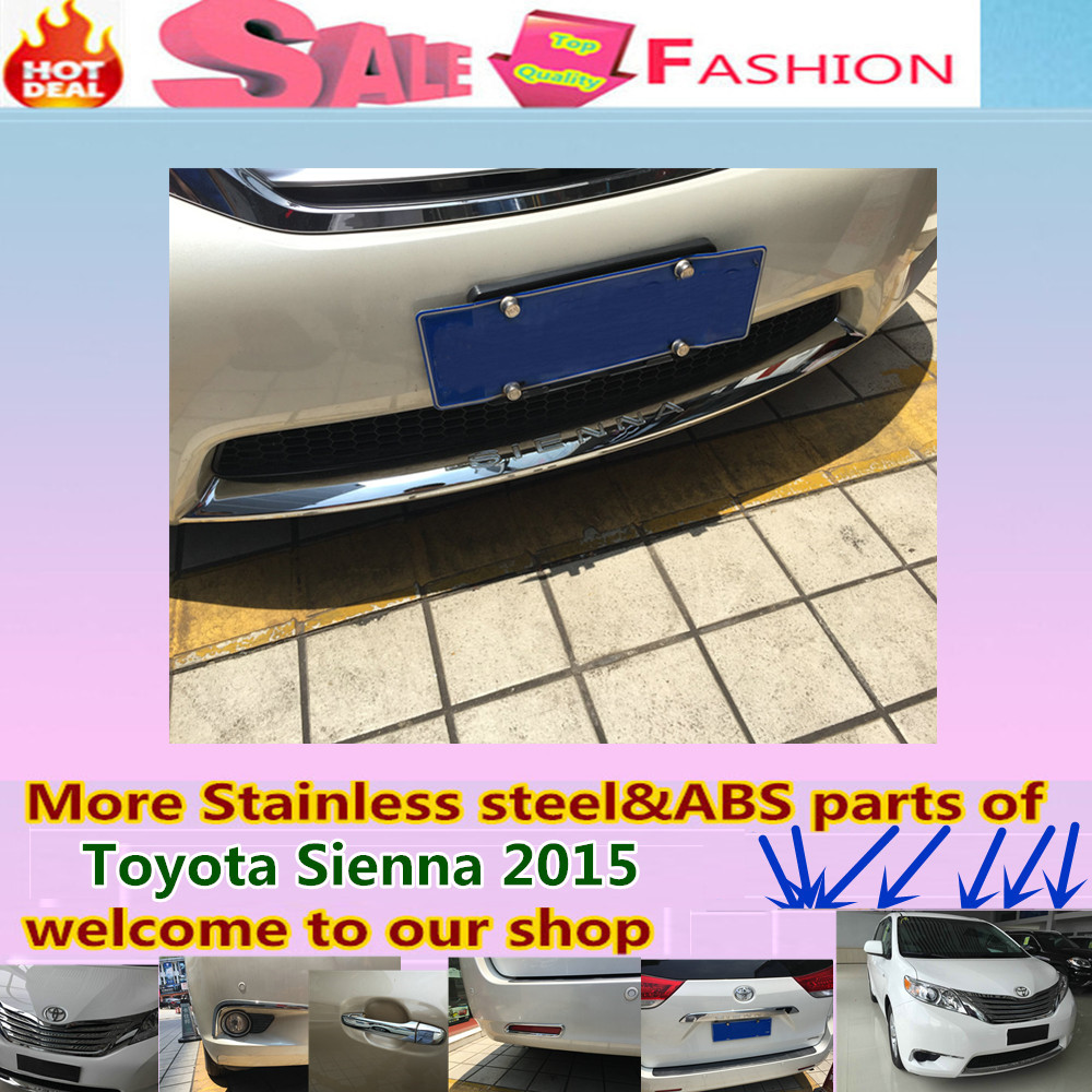 For T0Y0TA Sienna 2015 Car styling cover protection detector ABS Chrome trims Front bottom Grid Grill Grille Around edge 1pcs