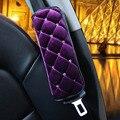 2 pcs mulheres curto pelúcia roxo ombro estofamento do assento cinto de segurança covers-bonito e confortável car styling DIY com diamante