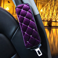 2pcs women short plush purple shoulder padding seat safety belt covers-beautiful and comfortable car DIY styling with diamond