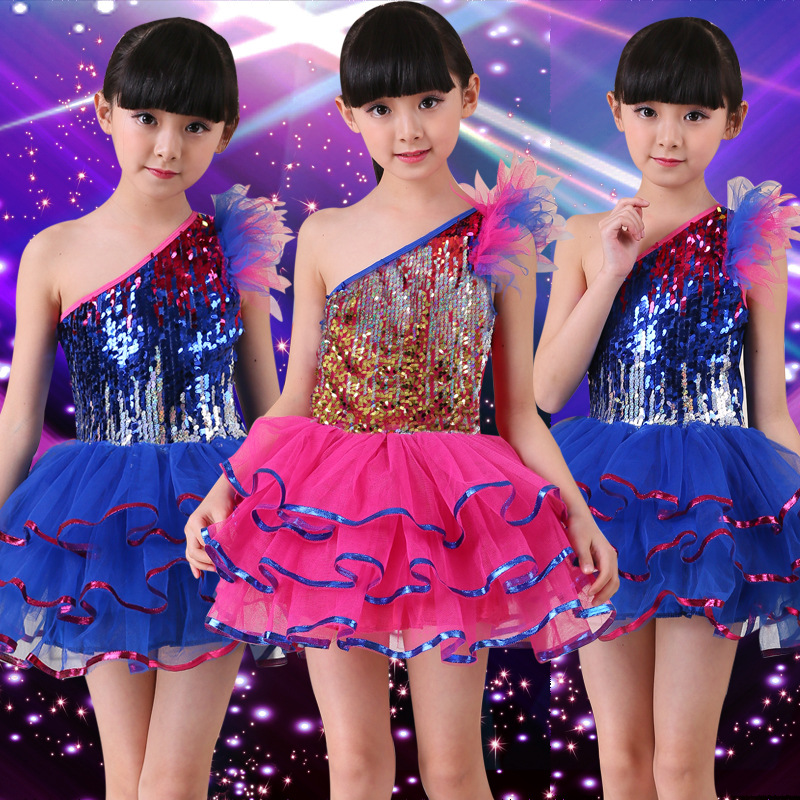 Stage & Dance Wear Girls Ballet Dress Children Girl Jazz Dancing Drums Dance Clothing Kids Sequins Fluffy Yarn Dress Costumes Dance Stage Dancewear Low Price