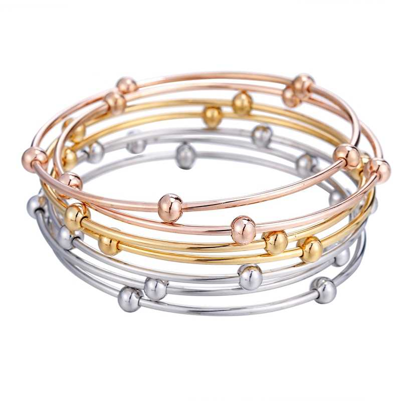 LASPERAL 7/3/5PCs Beads Wire Bracelets & Bangles Stainless Steel DIY Cuff Bangles For Fashion Women Men Cuff Bangles Fixed Mixed