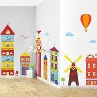 Большой Размеры детей мультфильм Съемный Наклейки на стену красочный домик наклейки для детской комнаты Гостиная Исследование Наклейки ...