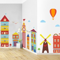 Large Size Children Cartoon Removable Wall Stickers Colourful Small House Decals For Kids Room Livingroom Study Stickers Muraux