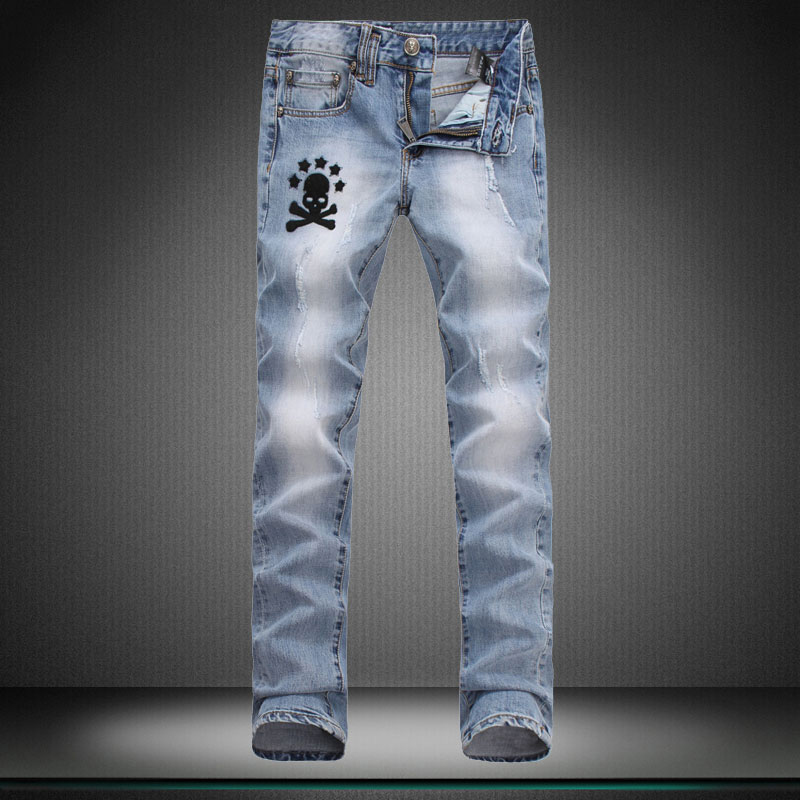 High quality Small stretch designer Brand jeans man men s trousers straight new hole boy jeans