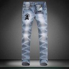 Высокое качество Небольшой стрейч дизайнерский Бренд джинсы мужские брюки прямые новый отверстие мальчик джинсы Маленькие ноги штаны