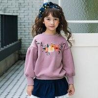 여자 아기 최고 스웨터 꽃 디자인 라일락 라벤더 꽃 옷 아이 새해 제품 어린이 56789 10 11 12