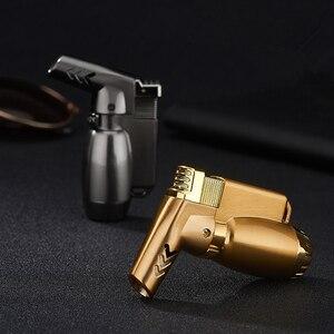 Image 4 - Горячая Распродажа, компактная Бутановая струйная зажигалка, факельная турбо зажигалка, ветрозащитный распылитель, металлическая трубка, зажигалка для сигар 1300 C без газа