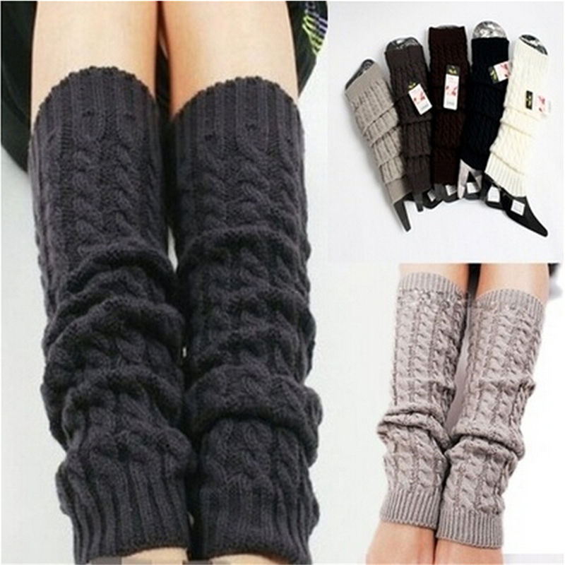 Ladys Solid Knitted Warm Knee Socks Winter Knit Leg Warmers Legging Boot Cover Hot