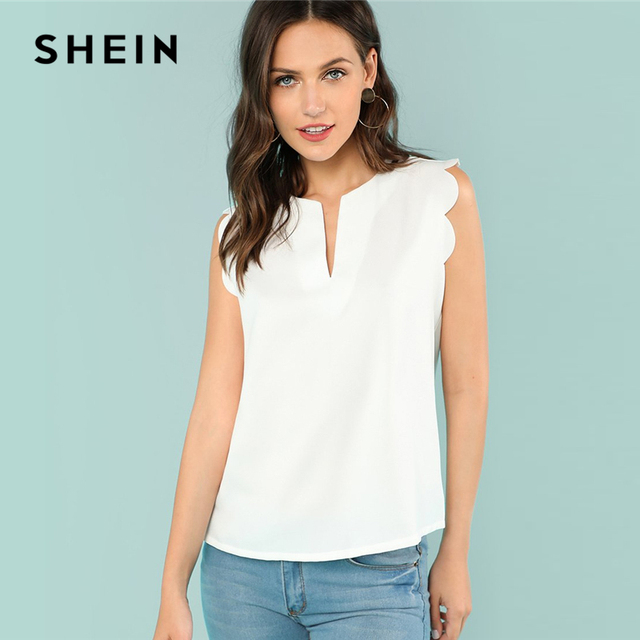 SHEIN Sleeveless V-Neck Scallop Casual Top Summer Regular Fit Elegant Blouse Beige Solid Shirt For Women Trim Shell Top