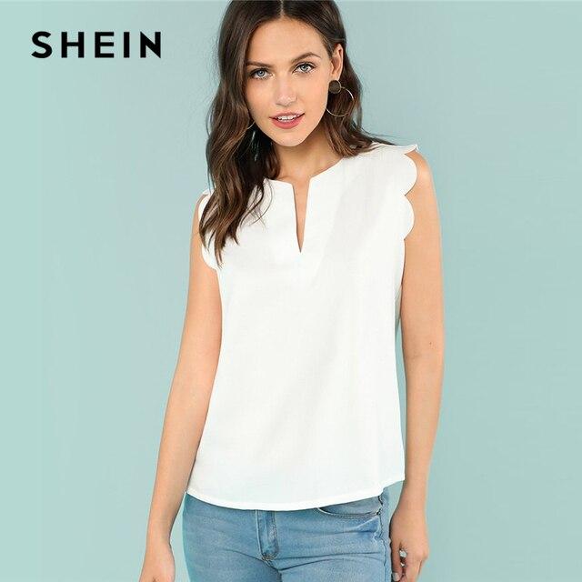 Шеин без рукавов с v-образным вырезом гребешок Повседневное летний топ Regular Fit Элегантная блузка бежевый Однотонная рубашка для Для женщин отделкой Shell Топ