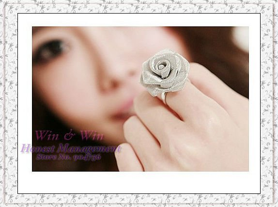 Free Shipping 10 pieces/lot Folk style gauze Rose adjustable lady girl women rings  R1031