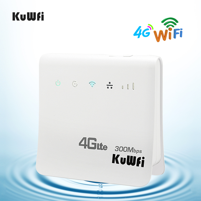 KuWFi разблокирован 300 Мбит/с 4G LTE CPE Мобильный Wi-Fi беспроводной роутер для помещения 2,4 ГГц WFi точка доступа с Lan порт слот для sim-карты