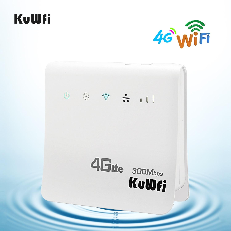KuWFi débloqué 300 Mbps 4G LTE CPE routeur intérieur sans fil WiFi Mobile 2.4 GHz Hotspot WFi avec Port Lan fente pour carte SIM