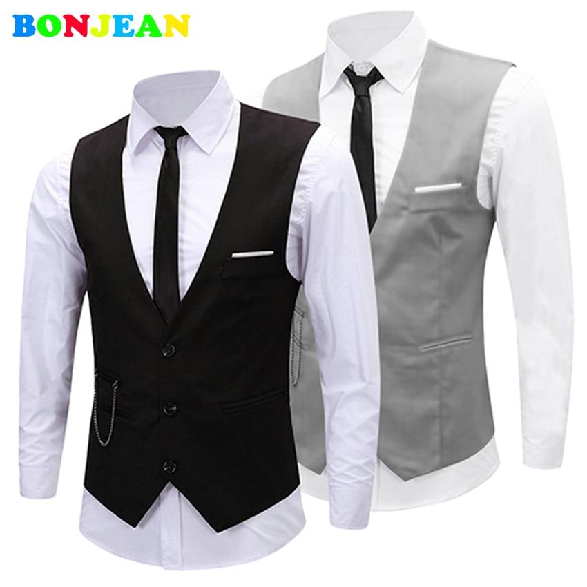bonjean 2017 new dress vests for men slim fit mens suit