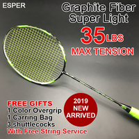 ESPER Badminton Racket Lightweight Racquet High Quality Graphite Carbon Fiber Tension 35LBS for Professional With String Gifts