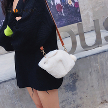 6244290ec38f Lovely Cartoon Fur Rabbit Women Handbag Soft Artifical Creative Lady  Shoulder Bag Plush Storage Phone Satchel