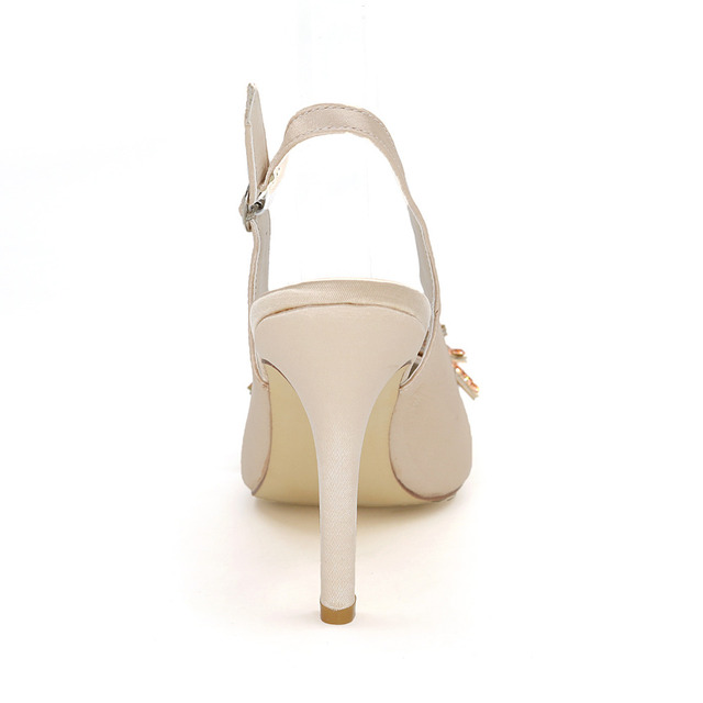 Pointed Toe Slingback Satin Dress Shoes With Rhinestone Butterfly Charm
