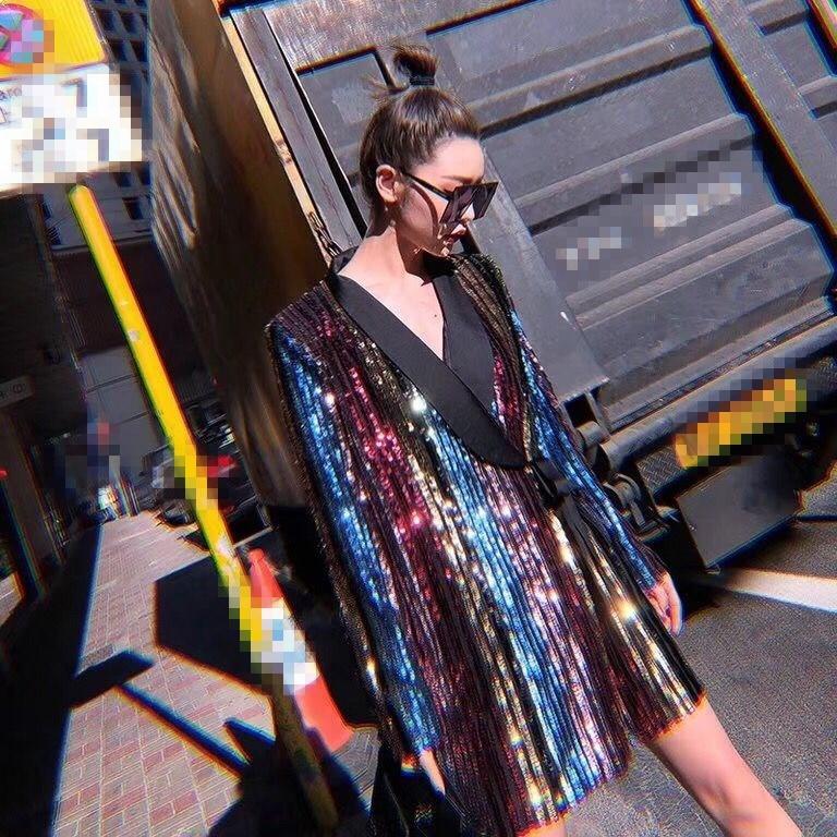 Longues Bloc De Multi Manches Sequin Couleur Club Mini Tenue Pour Robe 2019 Élégant Fête Robes Streetwear Wrap À Sexy Femmes 5H6qtvdwxR
