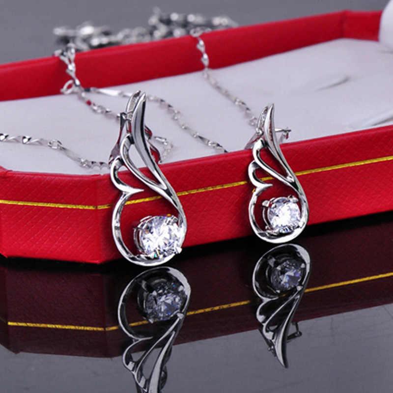100%เงินแท้925แฟชั่นแองเจิลปีกเงาคริสตัลladies 'pendantสร้อยคอเครื่องประดับขายส่งโซ่สั้นไม่มีจาง