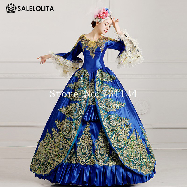 2016 Royal Blue Palace Catwalk Dance Costume Women Vintage Victorian Party Dress Marie Antoinette Masquerade Ball