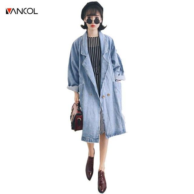 Vancol 2016 Spring Fall Denim Outwear Loose Brand Designer Jean Blue Vintage Distresse Pocket Fall Women Long Denim Trench Coat