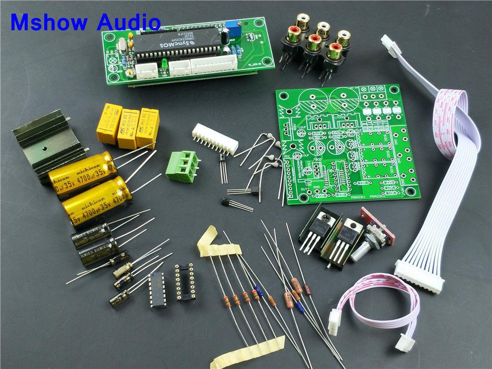 upgrade PGA2311 Stereo Volume Control Preamp preamplifier pre-amp HIFI DIY KIT hifi pga2311 remote volume control preamplifier stereo preamp with 4 way inputs