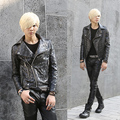 2016 spring Night Costumes punk style Skull Embossed Leather jackets men casual slim Leather clothing Outerwear for men,M-XL
