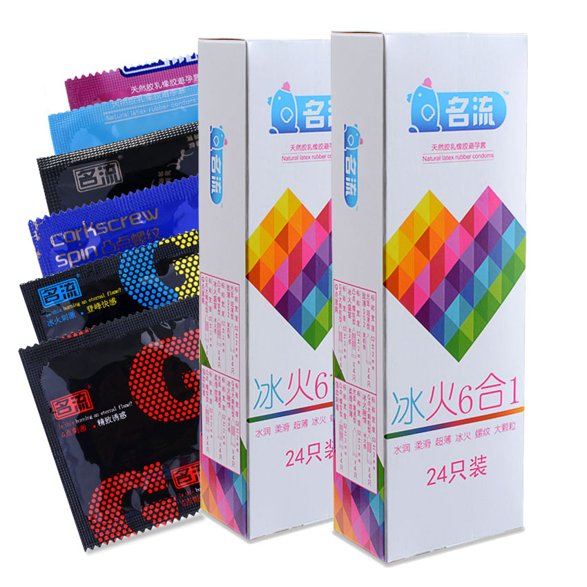 MingLiu Six In Sex 48PCS amazing condoms value high quality condoms for horny men women adult sex toy 1