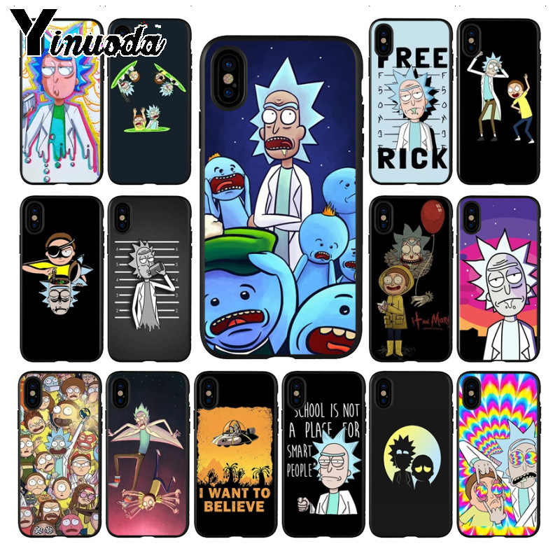 Yinuoda nimation rick and morty Customer Quality black silicone Phone Case for iphone X XS MAX 5 6S SE 7 8 plus XR Mobile Cases