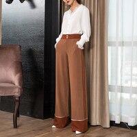 Осень зима Для женщин широкие штаны боковой полосой брюки Повседневное негабаритных 3XL длинные брюки корейской Кофе Широкие штаны
