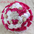 WDZ-277 Colourful Hand Made Korean Satin Rose Decor Bridal Bouquet Wedding Ramos De Novia 6 Colores Crystal Bling Sparkly