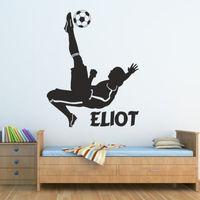 كرة القدم ملصقات الحائط الاطفال نوم الأولاد لاعب ملصق شخصيتك الفينيل شحن مجاني