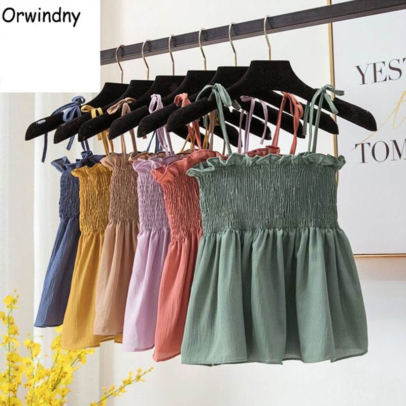 Orwindny Women Summer Camis Ruffles Sweet Chic Tee shirts Camis for Female   Tanks     Tops   Girls