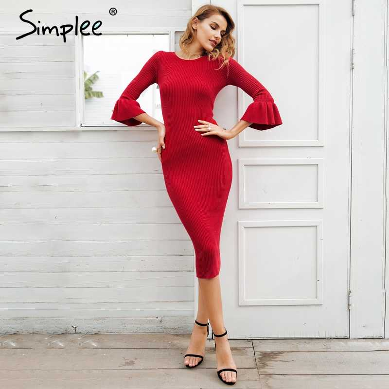 Женское осенне-зимнее платье Simplee, трикотажное облегающее платье-свитер с рукавом-бабочкой, пикантное мягкое платье стрейч