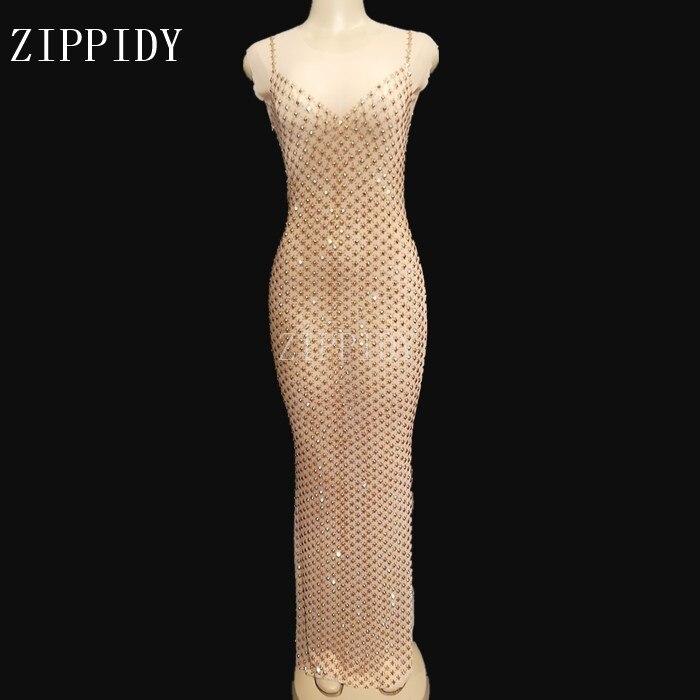 Sexy Gold Rhinestones Mesh See Through Dress Evening Party Sleeveless Long Dresses Birthday Celebrate Perspective Dress