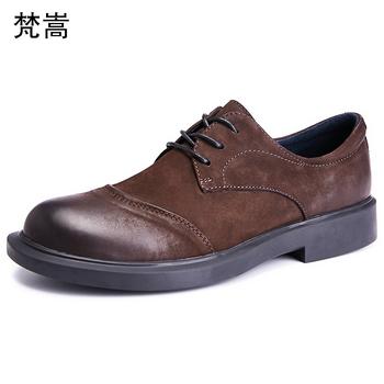 Skóry wołowej męskie buty wiosna prawdziwej skóry buty prawdziwa skóra dla mężczyzn modne buty w stylu casual oddychające sznurowane męskie buty sukienka tanie i dobre opinie Dla dorosłych Przypadkowi buty Podstawowe Gumowe Oddychająca Wodoodporna Skóra bydlęca 梵嵩 Lace-up Świńskiej 20190314