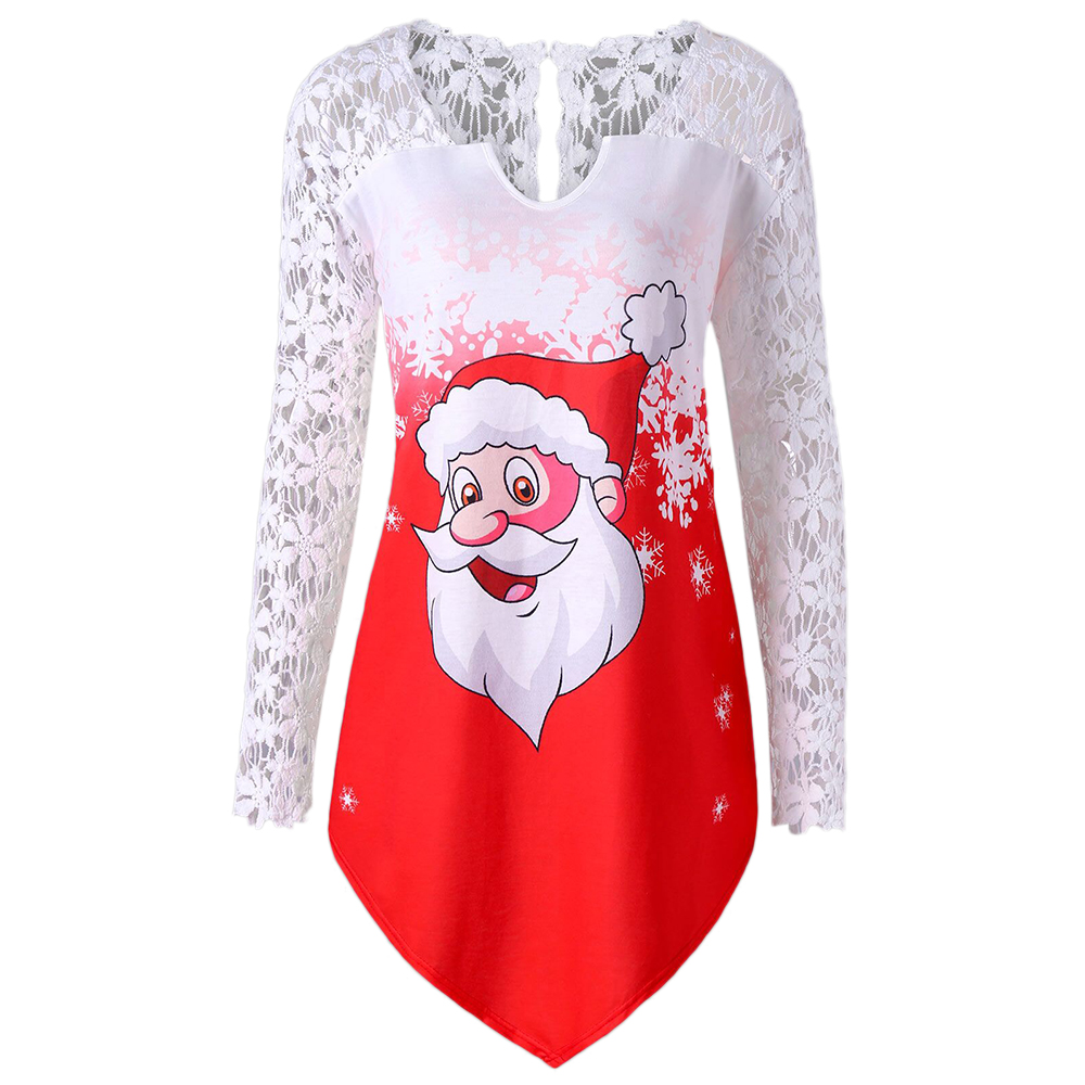 Wipalo Christmas Plus Size Sheer Lace Trim Santa Claus Tunic T-Shirt Cutwork Long Sleeve Asymmetric Women Tee Top Big Size 5XL