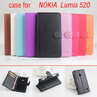 Litchi For Nokia Lumia 520 Case Cover Good Quality New Leather Case Hard Back Cover For