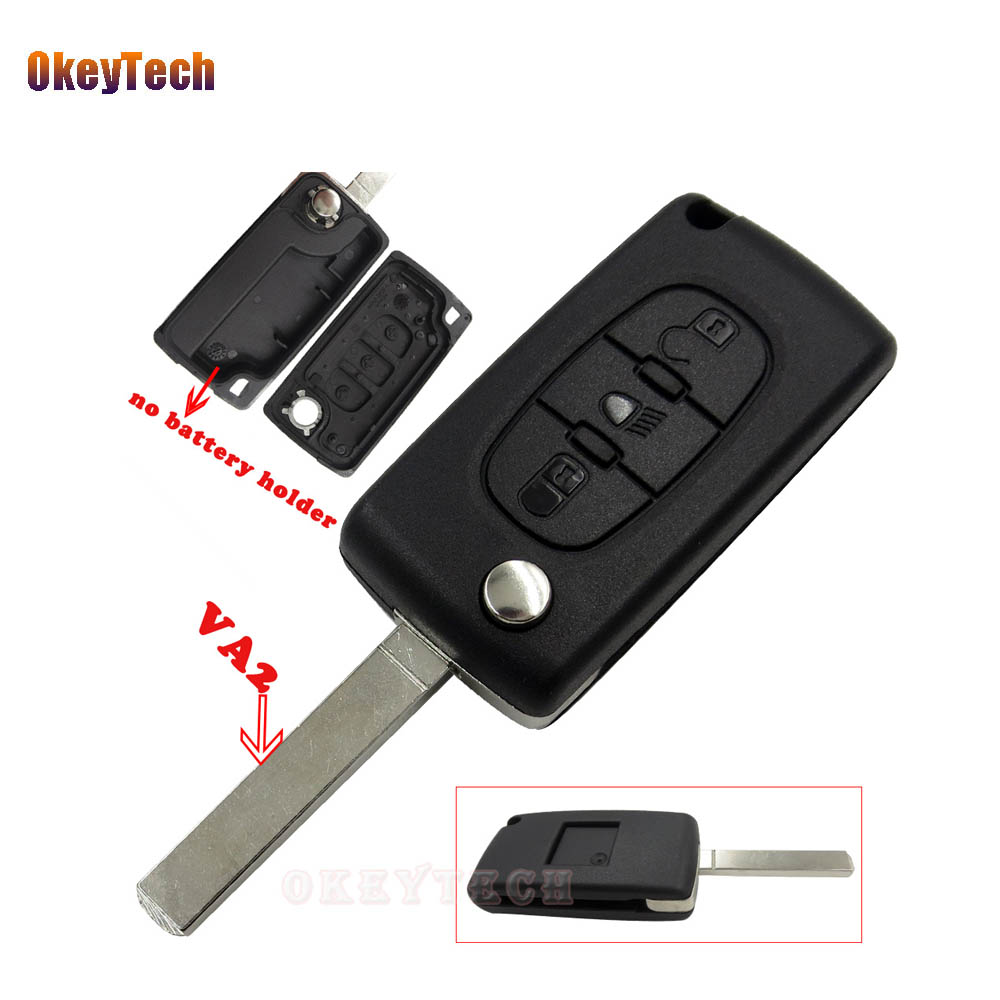 Auto Replacement Parts Back To Search Resultsautomobiles & Motorcycles Okeytech Ce0523 Flip Remote Auto Car Key 3 Button Va2 Blade Middle Trunk For Peugeot For Citroen Key 433 Mhz Id46 Pcf7941 Chip Easy To Repair