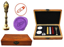 Vintage Heart Safety Pin Custom Luxury Wax Seal Sealing Stamp Brass Peacock Metal Handle Sticks Melting Spoon Wood Gift Box Set