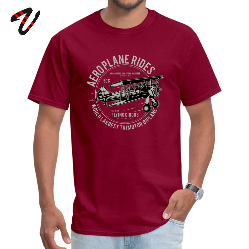 Casual cosie Short Sleeve Tops T Shirt April FOOL DAY Crew Neck 100% Cotton Men's T Shirts cosie Top T-shirts Plain Airplane Rides The Best Flying Circus 3045 maroon
