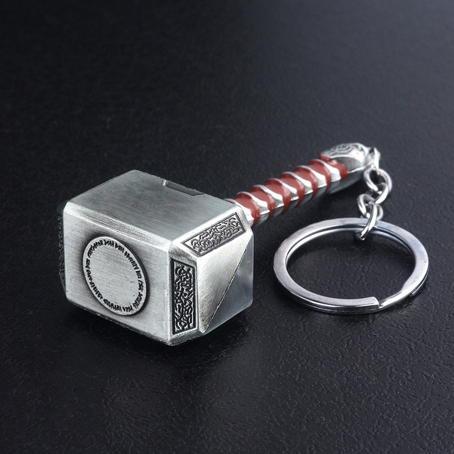 RJ The Avengers 4 Thor Hammer Metal Keychains The Dark World Weapon Iron Man Keyring For Women Movie Fans Jewelry Accessories 4