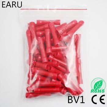 Bv1 bv1.25 conector de fio de isolamento completo conector de fio conectores de extremidade friso fio elétrico splice terminal 100 unidades/pacote bv