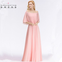 34 Colors Customized Off the Shoulder Shawl Evening Dresses Charming Long Chiffion A Line Formal Dresses Robe Soiree