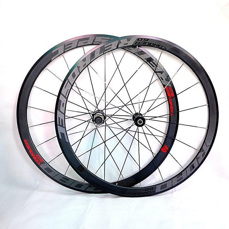 C6.0 super-léger de vélo de route en aluminium scellé roulement roues rayons plats course 40mm jantes 700C avec anti- curseur
