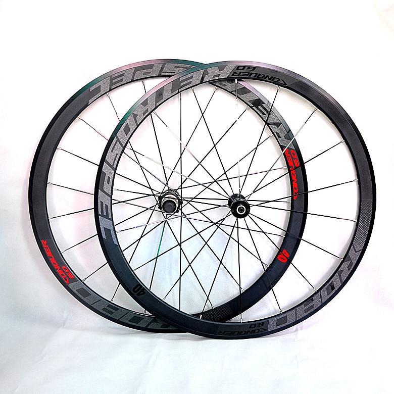 C6.0 super-light aluminum road bicycle 4perlin bearing wheelset flat spokes racing 40-speed rims 700C with anti-cursor