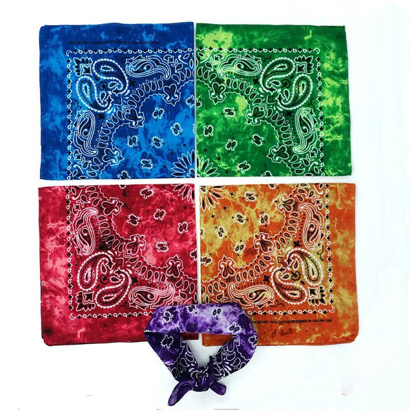 Gradient Tie-Dye Ethnic Paisley Floral Print 50x50CM Unisex Cotton Sport Pocket Square Scarf Headband Bandana Hip-Hop Wristband